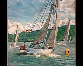 Balatoni Vitorlás hajó Festmény